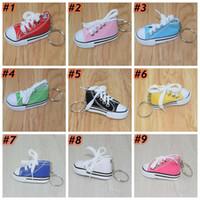 12 zapatos de color zapatilla de deporte de lona 3D Llavero de la novedad del anillo dominante 7.5 * 3.5 * 4cm Zapatos del sostenedor de la cadena dominante de bolso colgante, Regalos y recuerdos ZZA1482