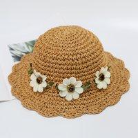 2020 Нового прибытия цветок лето соломенной шляпе дети Бич Hat для девочек мальчиков Открытого шлемов Sun Для Ребенка панама колпачков gorros