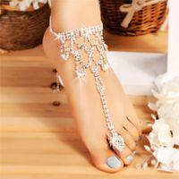 Frauen Mode Silber Knöchel Schmuck Braut Kristall Strand Barfuß Sandalen Fuß Zehen Anklet Armband