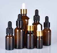 frasco de vidro âmbar fosco 10ml 15ml 20ml 30ml 50ml 100ml fosco frasco conta-gotas de vidro com ouro, prata cap branco preto para óleo essencial