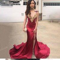 Nouvelle robes de bal africaine sirène longue d'or côté haut Slit Appliques Femmes Maroon Robes de soirée Girl Party personnalisés Robes jamais Jolie