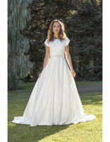 WANSHandress Jewel A-Line Свадебные платья свадебные рукава Слиссированные простые атласные длину полов длинные свадебные платья с бисером