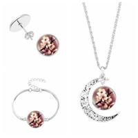 Baum des Lebens Schmuck Sets Glaskuppel hängende Halsketten-Charme-Armband-Ohrstecker Set Opulente Halskette Sets Schmuck für Frauen-Mädchen-Geschenk