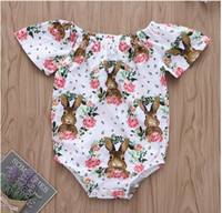 Baby Rabbit Print Short Sleeve Romper Boy Girl Easter Garlan...