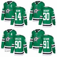 Nuevo estilo Hombres 14 Jamie Benn Jersey 91 Tyler Seguin 90 Jason Spezza 30 Ben Bishop Dallas Stars Jerseys de hockey sobre hielo cosido verde