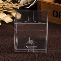 10 pz / lotto 3x3x3cm 4x4x4cm Confezione regalo in PVC Scatola quadrata in plastica trasparente Macaron Scatola per matrimonio trasparente per cupcake Macaron