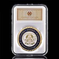 USA Północna Karolina 3D Masonic Bractwo Freemasons Craft 1OZ Pozłacane wyzwanie Coin W / PCCB Box