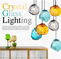 Modern cor de cristal lustre personalidade restaurante luz bar pub sala de estar decoração criativa em forma de pedra led luminária-L38