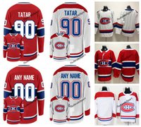 2018 Montreal Canadiens 100th Clássico Tomas Tatar Hóquei Jerseys Custom Home Vermelho # 90 Tomas Tatar Costurado Camisas S-XXXL