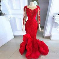 2020 New Red Long Sleeve Aftonklänningar Mermaid Sheer Neck Lace Appliques Ruffles Bottom Vestidos Prom-kappor