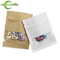 Leotrusting 100pcs / lot fondo piatto Kraft Paper Window Ziplock Bag sigillabile termosaldabile Sacchetto della chiusura lampo piccolo sacchetto di finestra di carta supporto personalizzato