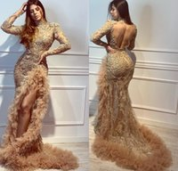 Gold Mermaid Luxurious 2020 African Evening Dresses High Nec...