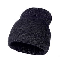 Shiny Knitted Woman Winter Cap Warm Hat Solid Color Caps Striped Beanie Girls Ear Warmer Casual Bonnet Hat