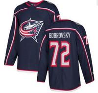 남자 콜럼버스 블루 자켓 # 72 Sergei Bobrovsky 네이비 블루 홈 스티치 저지, 남자 71 Foligno 13 Atkinson 9 Panarin Hockey Jersey