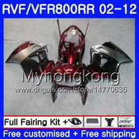 Комплект для Honda Interceptor Vfr800rr Silver red hot 02 08 09 10 11 12 258HM.37 VFR 800RR 800R VFR800 RR 2002 2008 2009 2010 2011 2012 обтекатель