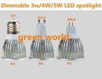 Dimmable 3W / 4W / 5W LED Spot Light E27 / GU10 / MR16 / GU5.3 Testa di alta qualità DC12V / AC85-265V Luce spot per interni 5pcs / borsa Spedizione gratuita