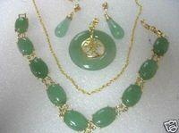 Nouveau style vente chaude bijoux jade bracelet collier boucles d'oreilles fashion définit les bijoux de noce