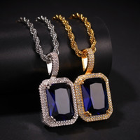 Iced Out Cubic Zirconia Necklace Pendant Pink Blue Green Red...