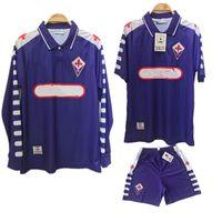 1998 1999 Retro Fiorentina manga larga de fútbol jerseys BATISTUTA RUI COSTA 98 99 Florencia distancia cortocircuitos de la camisa Camisas de Futebol