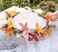 Ins meninas maple folha flor coroa moda crianças simulação magnólia princesa guirlandas mulheres largura headbands de praia A3426