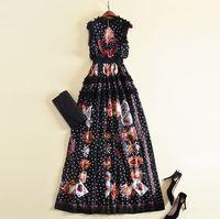 Линия Новая мода 2020 Дизайнер Runway Maxi Черный Женщины платья без рукавов Цветы Вышивка Ретро Dot Печатные Лоскутная Ruffles Длинные