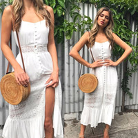 2019 Summer Women Hollow Out Patchwork Lace Dress Casual Hig...