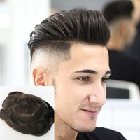 Toupee dos homens de pele Real Natural Human Hair 8 * 10 polegadas # 1b homens tpeee para homens pentear homens peruca sistemas de substituição wigs