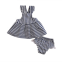 2pcs Newborn Baby Girls Clothes Infant Kids Summer Striped Dress Top + Briefs Outfit Toddler Kids Clothing Set 0-24M
