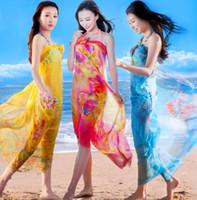 200 * 140cm Foulards en soie Châle en mousseline de soie femmes Beach Blanket serviette d'été imprimé floral crème solaire Wraps fille Écharpe Sea Shipping GGA3376