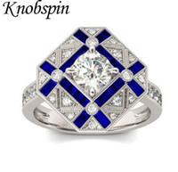 Nuovo unici geometriche delle donne di disegno Anelli intarsiato blu zircone monili eleganti completi zircone fidanzamento Anelli di nozze di modo di marca