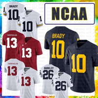 Alabama Crimson Tide American Football Jersey XEAEF Tua Tagovailoa Michigan Wolverines 10 Tom Brady 26 Saquon Barkley Purple