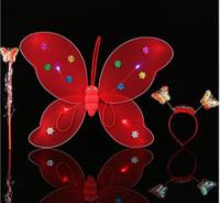 새로운 어린이 성능 소품 단일 레이어 빛나는 나비 날개 마술 지팡이 머리 후프 3 세트 WL198