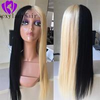 Moda Kadınlar için Ombre Dantel Ön Sentetik Peruk Siyah 613 Sarışın Dantel Ön Peruk Brezilyalı saç cosplay