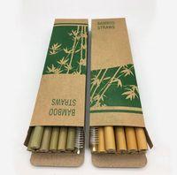 Paja de bambú 12pcs / set de 19,5 cm de bambú Pajita amistoso reutilizable de Eco Artesanal Natural Baby Feeding pajas OOA6877