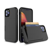 Card Slot Kackstand PC TPU Custodie telefoniche per iPhone 6 8 Plus XS XR 11 Pro MAX 12 13 MINI SE2 SAMSUNG S20 S21 FE NOTA 20 A12 5G J4 LG K51 STYLO 7 Moto G Stylus E Cover posteriore protettiva
