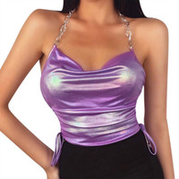 Für Frauen mit Rüschen besetzt Kordelzug Halter Crop Top Hologram Backless Metallkette Leibchen