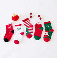 Natal Sock do bebê Crianças Cotton Papai Noel dos cervos socking amantes Oriente Red bebê Christmasn menino menina meias macias