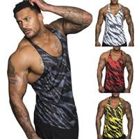 Moda Rahat Gevşek Baskı Erkekler Spor Camo Tek Tank Top Tee Gömlek Stringer Vücut Geliştirme Kas Spor Yelek Yaz Giysileri