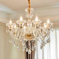 New American Modern Style Crystal iluminación del restaurante de la lámpara sala de estar dormitorio estudio dirigido Lámparas de cristal colgante Casa Lámparas de lujo