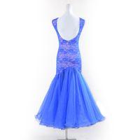 NEUES blaues Standardballroomkleidfrauenballroom-Tanzwettbewerb kleidet reizvolles ärmelloses Spitzewalzer Foxtrott Rumba-Kleid des modernen Tanzes