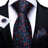 Snelle verzending Tie Set Mode Blauw Rode Bloem Heren Zijde Groothandel Classic Jacquard Stropdas Pocket Square Manchetknopen Bruiloft Business N-7239
