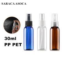 30ml de plástico Garrafa de Spray PP PET Clear White Brown Cor Garrafa ombro Rodada Automizer Para Medical Laboratory Use 100pcs / lot