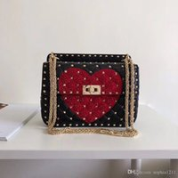 2018 New Fashion Handtasche Schultertasche Lady Bag Farbe StoneDiamond Bag Valentinstag Taschen Mehrfachschichten Kamera Rot Schwarz Weiß Farben
