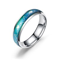 anneau Heartbeat température femmes bande anneau d'humeur en acier inoxydable mens amour anneaux bijoux de mode volonté et cadeau de sable