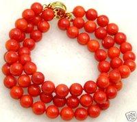 Прекрасный 6-7 мм Круглый Натуральный Красный Коралл Браслет для Женщин 3 Пряди 7.5 дюймов