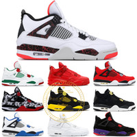4 Männer Basketballschuhe Schwarz Weiß Pizzeria Zement Schwarze Katze Pale Citron Pure Money Royalty University Rot 4S Sport Turnschuhe US 8-13