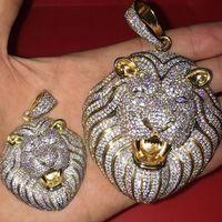 Hip hop Iced BLING CZ tête Lion Pendentif Glacé Collier animal avec des bijoux de mode chaîne corde