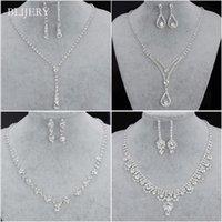 Sistemas de la joyería nupcial de la dama de honor de la manera para las mujeres Rhinestone Crystal Necklace Earrings Sets Prom Wedding Jewelry Sets
