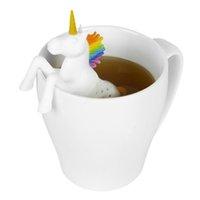 Forma creativa Grado Alimenticio unicornio de silicona de Infuser del té Los coladores filtro para soltarlo bolsa de té de hierbas de la hoja de la especia de filtro
