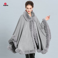 Fashion Luxury Handwork Rex Rabbit Fur Coat Cape Big Long Cashmere Shawl Full Trim Faux Fur Cloak Lapel Overcoat Women Winter